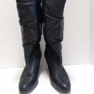 Franco Sarto Black Leather Boots Size 6.5